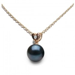 Pendentif coeur Or rose 18k Diamant Perle noire d'Akoya qualité AAA
