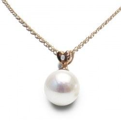Pendentif cœur Or rose 14k Diamant Perle d'Akoya blanche qualité AAA