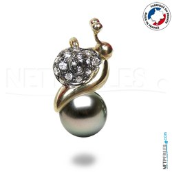 Pendentif Escargot Or & Diamants Perle de Tahiti
