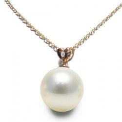 Pendentif Or rose 14k Diamant Perle d'Australie blanche argentée