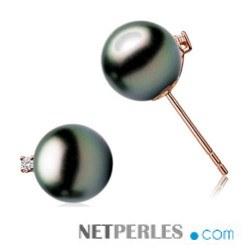 Boucles d'Oreilles Or Rose 18k Diamants Perles de Tahiti 8-9 mm