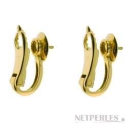 Clips en Or 18 carats pour boucles d'oreilles de perles