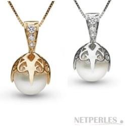 Pendentif Or 14k ou 18k Diamants avec perle d'Eau Douce 7-8 mm DOUCEHADAMA