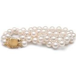 Bracelet 18 cm Double Rang de perles d'Akoya 6,5-7 mm blanches