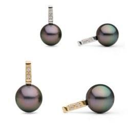Boucles d'Oreilles Or 14k Perles de Tahiti et diamants