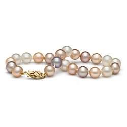 Bracelet de perles d'eau douce multicolor 7 à 8 mm