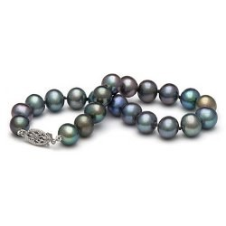 Bracelet de perles d'eau douce noires 7 à 8 mm