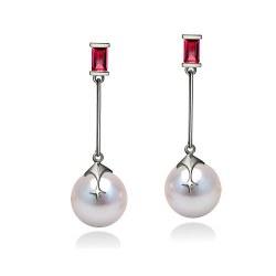 Paire de boucles d'Oreilles Argent 925, 2 rubis, perles d'Akoya blanches 9,0 à 9,5 mm