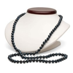 Collier de perles de culture d'Eau Douce noires 8-9 mm de 114 cm