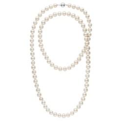 Tres long collier de perles d'eau douce blanche de 8 à 9 mm 114 cm