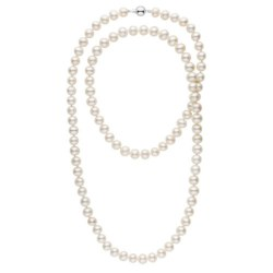 Long collier de perles d'eau douce blanche de 8 à 9 mm 90 cm