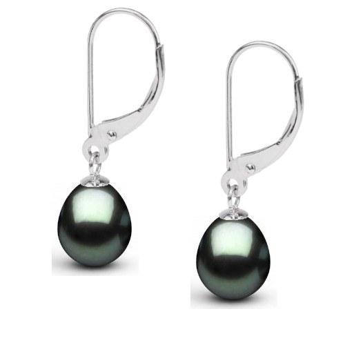 Boucles d'oreilles Argent 925 Perles de Tahiti Goutte 9-10 mm AAA