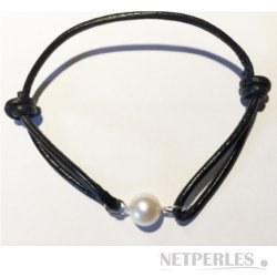 Bracelet Cuir et Argent avec une perle d'Eau Douce AAA