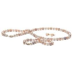 Parure de Perles d'Eau Douce 7 à 8 mm Multicolor 3 Bijoux Collier Bracelet boucles