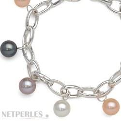 Bracelet de perles d'Eau Douce multicolores AAA sur Argent rhodié