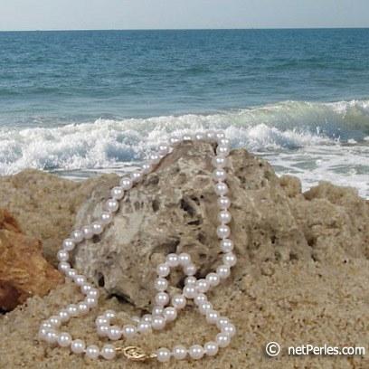 Collier de perles Akoya de 6,0 à 6,5 mm, longueur 55 cm