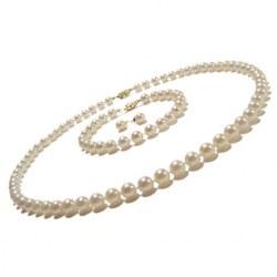 Parure de perles de culture Akoya de 6,0 à 6,5mm, collier, bracelet, boucles d'oreilles