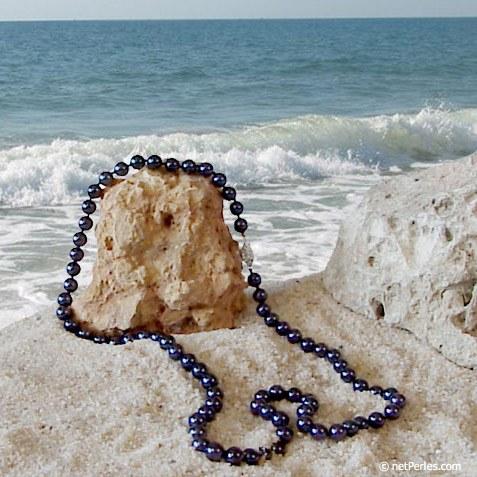 Collier de 55 cm en Perles Noires d' Akoya de 7,0 à 7,5 mm AA+