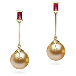 Boucles d'Oreilles en Or 18k rubis et perles dorées des Philippines 9-10 mm AAA
