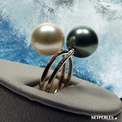 Bague Or 18k et diamants et perles de culture de Tahiti et d'Australie