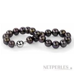 Bracelet de perles d'eau douce noires 9 à 10 mm