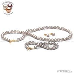Parure perles d'Eau Douce Lavande 7-8 mm 45/18 cm DOUCEHADAMA