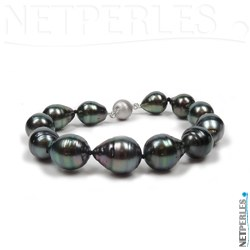 Bracelet de perles noires de tahiti baroques 9,3 à 11,0 mm avec fermoir de securite en or gris brossé