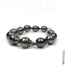 Bracelet de perles noires de tahiti forme baroques de 9,5 à 12,5 mm avec fermoir en Or 14k