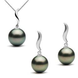 Parure 2 bijoux : Pendentif et Boucles d'oreilles de perles de Tahiti en Or Gris 9k
