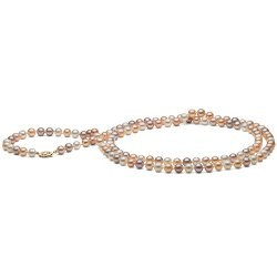 Long collier de perles d'Eau Douce multicolores 6-7 mm, 130 cm