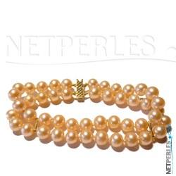Bracelet double rang de perles d'Eau Douce 6-7 mm AA+ ou AAA fermoir en or 18k