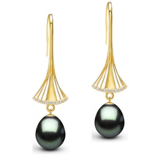Boucles d'Oreilles Or 9k Perles de Tahiti Gouttes et diamants