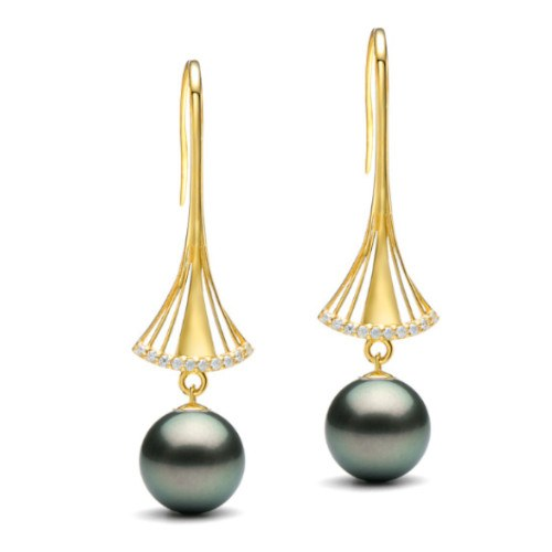 Boucles d'Oreilles Or 9k Perles de culture de Tahiti AAA et diamants