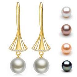 Boucles d'Oreilles Or 9k diamants perles d'eau douce 10-11 mm AAA