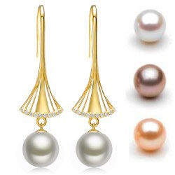 Boucles d'Oreilles Or 9k diamants perles d'eau douce 10-11 mm DOUCEHADAMA