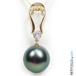 Pendentif Or 18 Carats et perle de culture de Tahiti qualité AA+ ou AAA