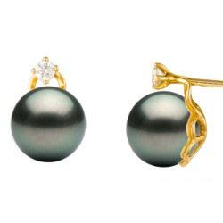 Boucles d'Oreilles Or 18k en perles de Tahiti de 10-11 mm et diamants