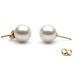 Boucles d'Oreilles Or 18k perles d'eau douce Blanches 9 à 10 mm AAA
