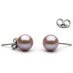 Paire de boucles d'Oreilles Or 18k perles d'eau douce Lavande 9 à 10 mm AAA