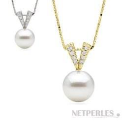 Pendentif Or 14 carats et diamants, Perle d'Akoya blanche AAA