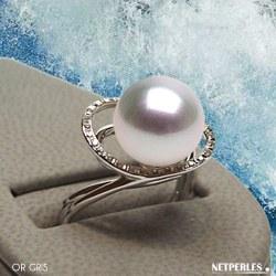 Bague Or 18k et diamants avec perle de culture d'Australie blanche