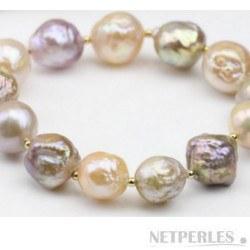 Bracelet de Perles Baroques d'eau douce 11-13 mm multicolores avec billes Plaqué Or