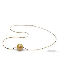 Pendentif perle des Philippines dorée et chaine Or traversante