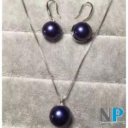 Parure en Argent, boucles d'oreilles et pendentifs perles noires d'eau douce 10-11 mm en forme bouton AA+, chaine 45 cm