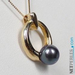 Pendentif Or 14k avec perle noire d'Akoya 6,5-7 mm AAA