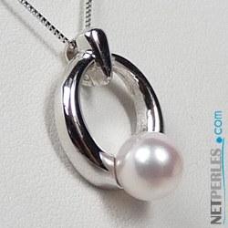 Pendentif en Or avec Perle d'Eau Douce 6-7 mm qualité AAA