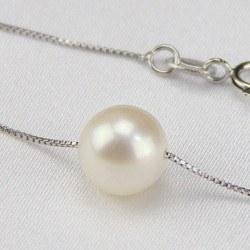 Perle d'eau douce 8-9 mm AAA sur chaine corde 45 cm en Argent 925