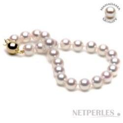 Bracelet de perles de culture d'Akoya HANADAMA 7,5 à 8 mm