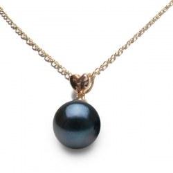 Pendentif coeur Or rose 14 carats avec perle noire d'Akoya qualité AAA