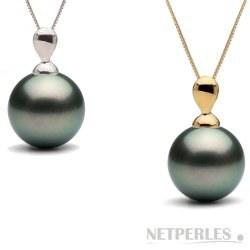 Pendentif Lacrima Or 14k et Perle noire de Tahiti AA+ ou AAA
